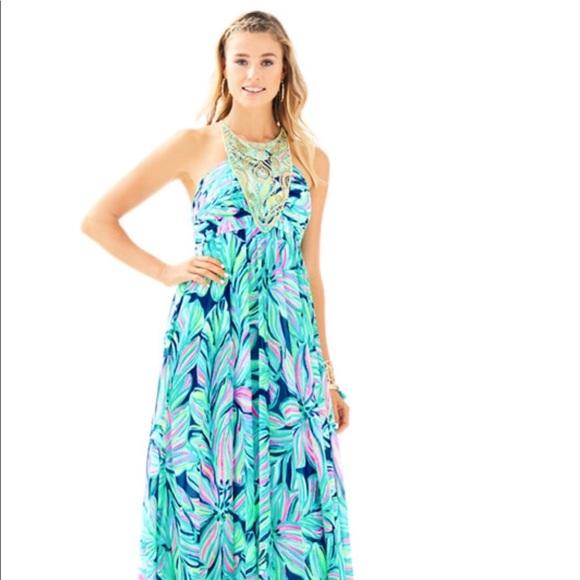 fed56ffe6cb45c Lilly Pulitzer Dresses | Lannette Embellished Chiffon Maxi | Poshmark